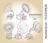 background with  gramophones...   Shutterstock .eps vector #412249828