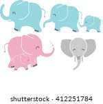 cute baby  mom and dad elephant ... | Shutterstock .eps vector #412251784