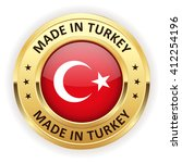 made in turkey button with gold ... | Shutterstock .eps vector #412254196