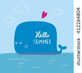 hello summer card with whale | Shutterstock .eps vector #412264804