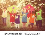 children playing kite happiness ... | Shutterstock . vector #412296154