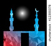 moon star and masjid with... | Shutterstock .eps vector #412300378