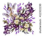 floral background. iris white ...   Shutterstock . vector #412322230
