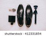 set groom butterfly shoes belts ... | Shutterstock . vector #412331854
