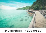 wooden bridge with beautiful... | Shutterstock . vector #412339510