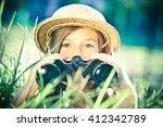 beautiful young explorer girl...   Shutterstock . vector #412342789