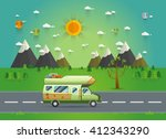 family traveler truck driving... | Shutterstock .eps vector #412343290