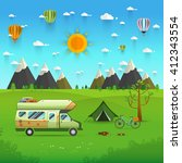 national mountain park camping... | Shutterstock .eps vector #412343554