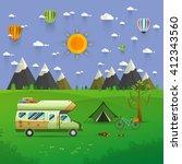 national mountain park camping... | Shutterstock .eps vector #412343560