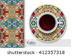 cup of coffee with colorful...   Shutterstock .eps vector #412357318