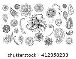 floral doodle elements. hand... | Shutterstock .eps vector #412358233