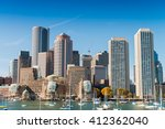 Stock photo boston skyline from the sea 412362040