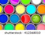 3d rendering colored paint pot... | Shutterstock . vector #412368010