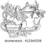 stylish floral doodle... | Shutterstock .eps vector #412369258