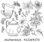 stylish floral doodle... | Shutterstock .eps vector #412369273