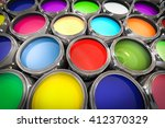 3d illustration of paint pots | Shutterstock . vector #412370329