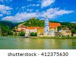 the medieval town of durnstein... | Shutterstock . vector #412375630