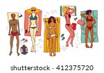 group women in vacation isolate ... | Shutterstock . vector #412375720