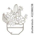 cute succulent flower pot.... | Shutterstock .eps vector #412388158