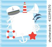 sailor subjects paper card with ... | Shutterstock .eps vector #412395370