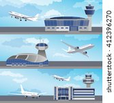 airport building set with... | Shutterstock .eps vector #412396270