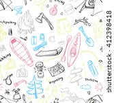 hand drawn doodles of camping... | Shutterstock .eps vector #412398418