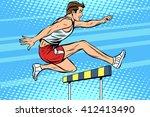 man running hurdles athletics | Shutterstock .eps vector #412413490