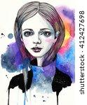 portrait of a beautiful girl.... | Shutterstock . vector #412427698