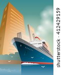 summer travel cruise ship. city ... | Shutterstock .eps vector #412429159