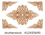 pattern of flower carved on... | Shutterstock . vector #412435690