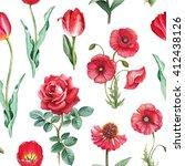watercolor flowers illustration....   Shutterstock . vector #412438126