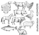 farm collection. bull  hen ... | Shutterstock .eps vector #412445098