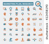 marketing plan  research icons    Shutterstock .eps vector #412458190