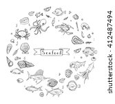 hand drawn doodle seafood icons ... | Shutterstock .eps vector #412487494
