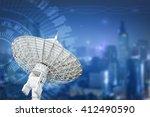 satellite dish antenna radar... | Shutterstock . vector #412490590