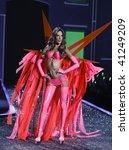 NEW YORK - NOVEMBER 19: Victoria's Secret Fashion Show model Alessandra Ambrosio on November 19, 2009 at the Lexington Armory in New York City. - stock photo