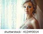 beautiful bride by the window | Shutterstock . vector #412493014