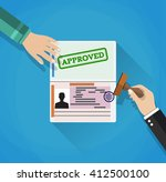 hand puts a stamp in the... | Shutterstock .eps vector #412500100
