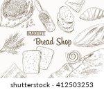 bakery background. bread frame. ... | Shutterstock . vector #412503253