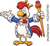 cartoon chicken king. vector... | Shutterstock .eps vector #412514740