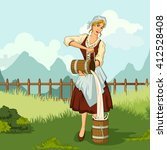 concept of retro woman milkmaid ... | Shutterstock .eps vector #412528408