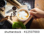 creative work with a cup of... | Shutterstock . vector #412537003