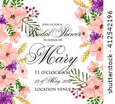 wedding invitation with flowers. | Shutterstock .eps vector #412542196