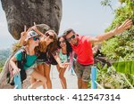 happy hipster company of... | Shutterstock . vector #412547314