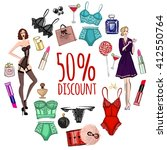 vector set with lingerie and... | Shutterstock .eps vector #412550764
