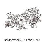 beautiful floral element. black ... | Shutterstock .eps vector #412553140