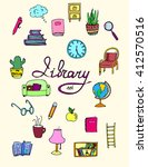 set of isolated library icons.... | Shutterstock .eps vector #412570516
