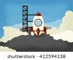 rocket lunch | Shutterstock .eps vector #412594138