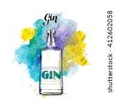 hand draw of gin bottle. vector ... | Shutterstock .eps vector #412602058