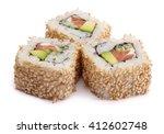 california sake roll with... | Shutterstock . vector #412602748